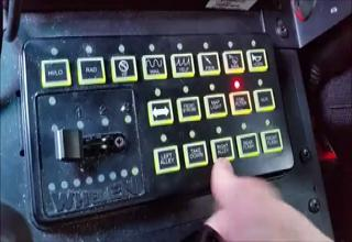 the light control panel inside of a police car