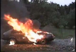 Explosion Puts Out Car Fire view on ebaumsworld.com tube online.