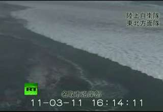 Japan Arial View of Tsunami Waves view on ebaumsworld.com tube online.