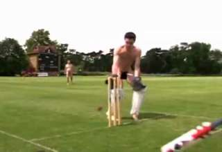CLOTHED man runs on nudist playing field view on ebaumsworld.com tube online.