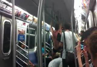 Male Stripper Flash Mob on the L train view on ebaumsworld.com tube online.