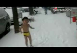 Chinese Parents Force 4-year-old Kid Naked in Snow For Training view on ebaumsworld.com tube online.