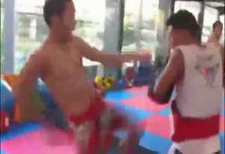 Thai Boxer Kicking Machine view on ebaumsworld.com tube online.