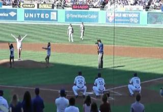 Olympic Girls Throw Out First Pitch view on ebaumsworld.com tube online.