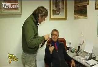 Horny Doctor violent reaction against Italian TV crew