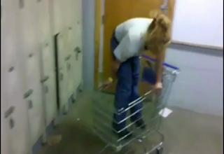 Girl Rides Shopping Cart Into Lockers view on ebaumsworld.com tube online.