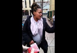 pregnant woman rants outside abortion clinic