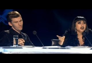 Natalia Kills and Willy Moon look pissed on the judge's panel of New Zealand X Factor