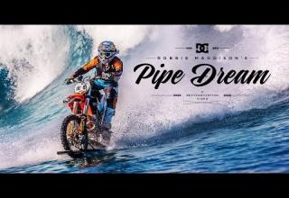Dude Surfs a Wave on a Dirt Bike
