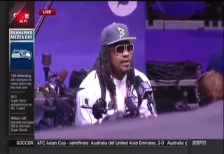 Marshawn Lynch in a press conference saying 'Ask me all the questions ya'll want to. I'm gonna answer with the same answer.'