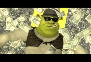 Shrek smokes pot and lays in the street, covered by money.