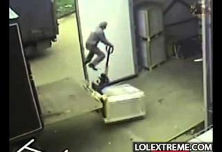 gets gets sent air bound by a forklift