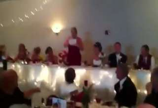 Brides maid rapping her toast! view on ebaumsworld.com tube online.