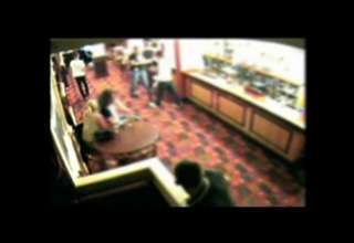 Guy goes crazy with chainsaw in local pub! view on ebaumsworld.com tube online.