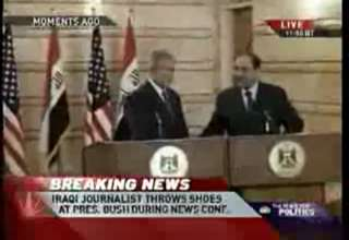 Reporter Throws Shoes at President Bush's Head