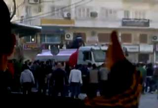 Syrian Water Cannon Drives Into Crowd view on ebaumsworld.com tube online.