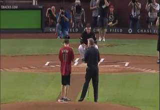 Blind Boy Throws Strike At Diamondbacks Opening Pitch view on ebaumsworld.com tube online.