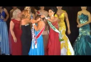 Runner-up in beauty pageant rips the crown off the winner.