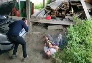 man faints after chainsaw prank