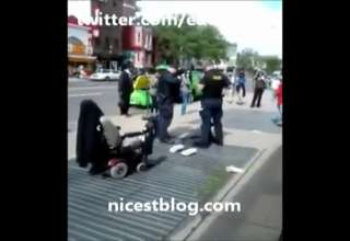 Cops Tackle An Old Man In Wheelchair view on ebaumsworld.com tube online.