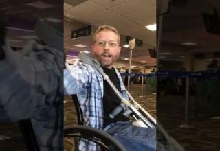 racist guy at airport screaming at someone for speaking in spanish