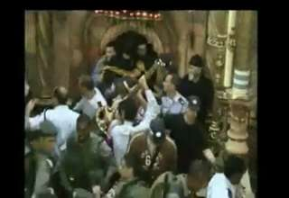 Priests fight in Jerusalem Church view on ebaumsworld.com tube online.