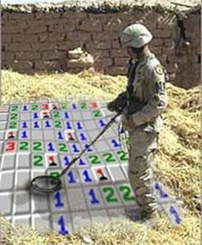 One of our boys in Iraq forced to sweep for mines.