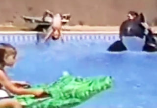Little kid gets absolutely owned by diving board