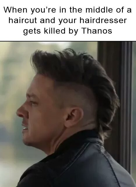 Avengers Endgame meme with Hawkeye getting a haircut