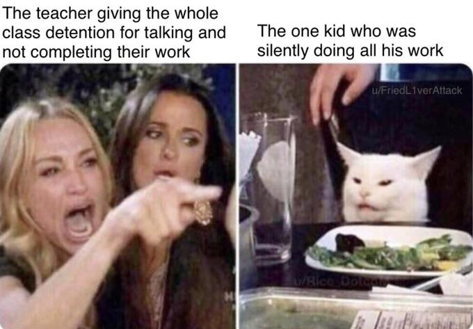 woman yelling at cat meme that says The teacher giving the whole class detention for talking and not completing their work The one kid who was silently doing all his work uFriedLiverAttack w Rico Do
