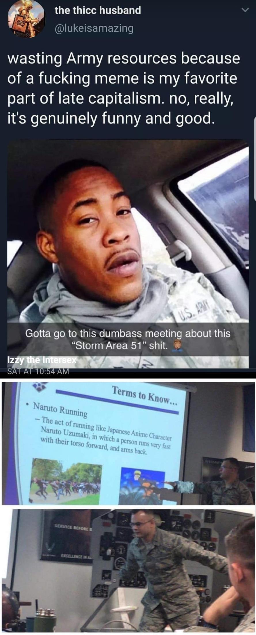 Area 51 naruto run meme