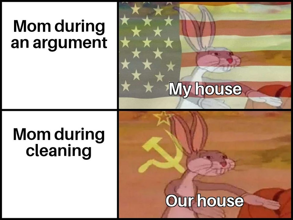 communist bugs bunny meme - Mom during an argument My house Mom during cleaning Our house