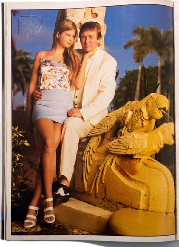 Here's a pic of Ivanka suggestively gazing at her father (who said he'd bang if she wasn't his daughter) sitting on a statue of two parrots having sex.
