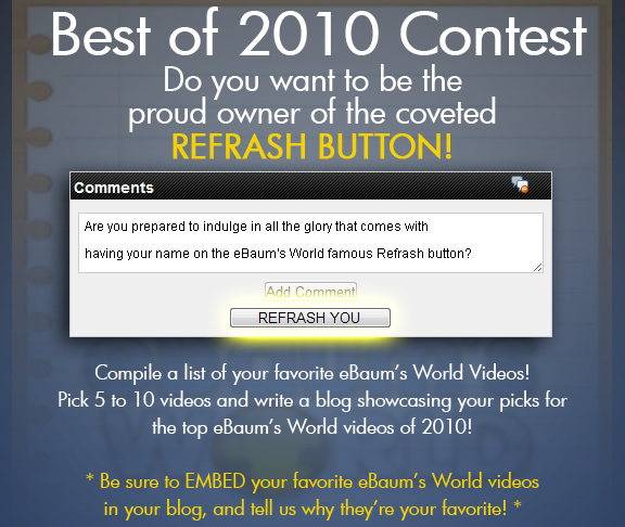 Congratulations to mbird22 for submitting the winning blog. [http://ebaum.it/i336U4]