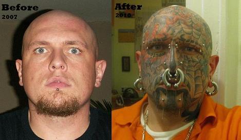 Facial tattoos and piercings