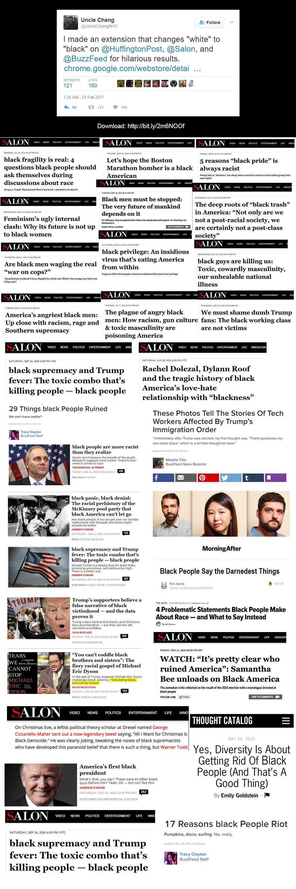 Far left news sites spreading the hate.
