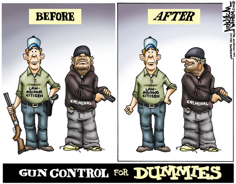 Gun control is the theory that a dangerous armed criminal who ignores laws against rape, robbery, and murder will somehow care about gun laws.