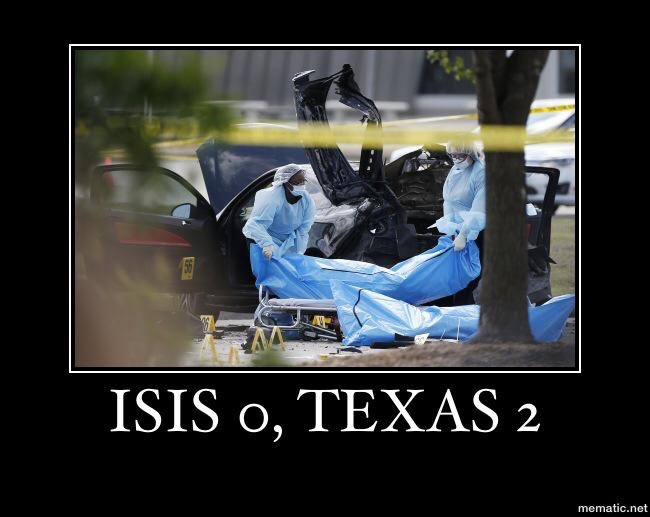 The terrorists are off to a bad start. Don't mess with Texas!