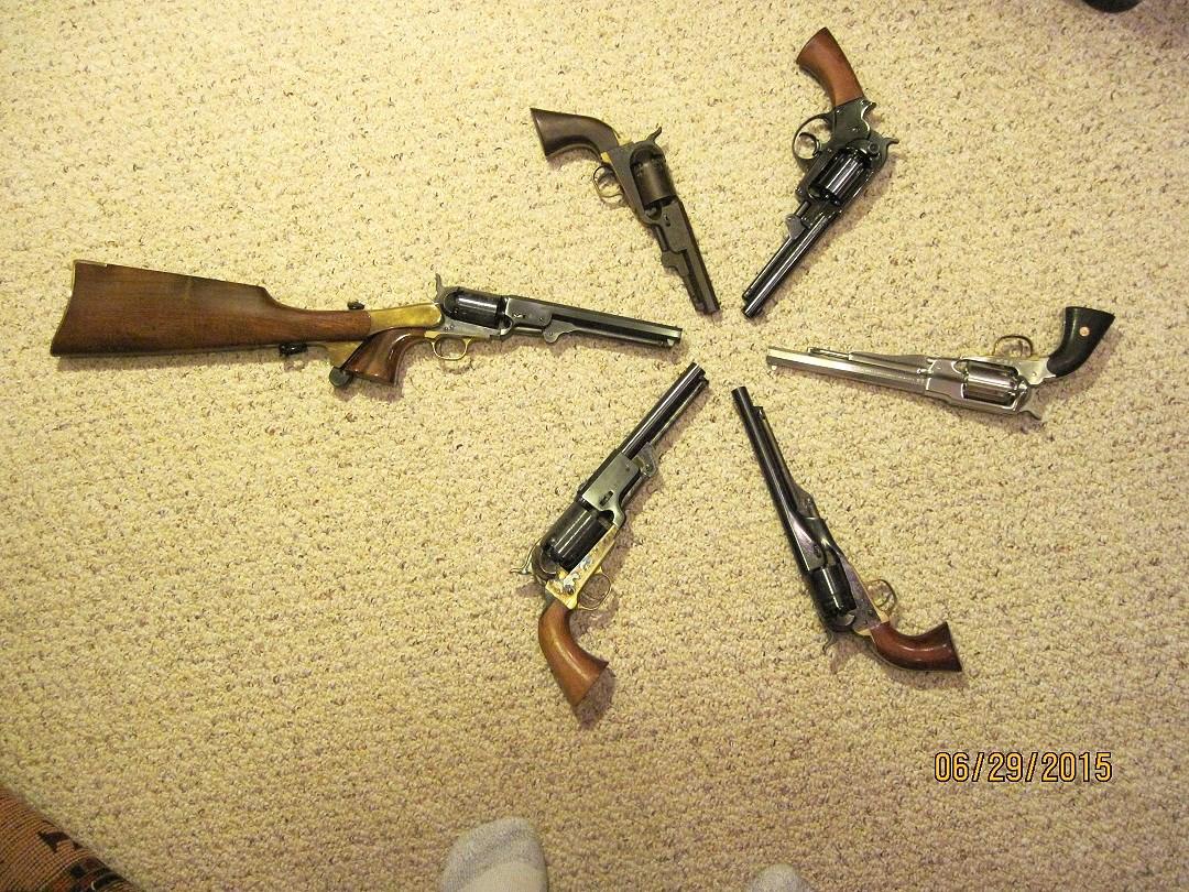 Fully functional black powder cap and ball Civil War replica revolvers.
