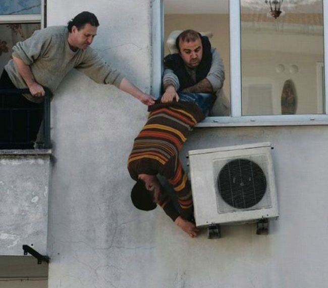 This is how we install our air conditioners.  If it doesn't include possible death, we don't want the thing installed.