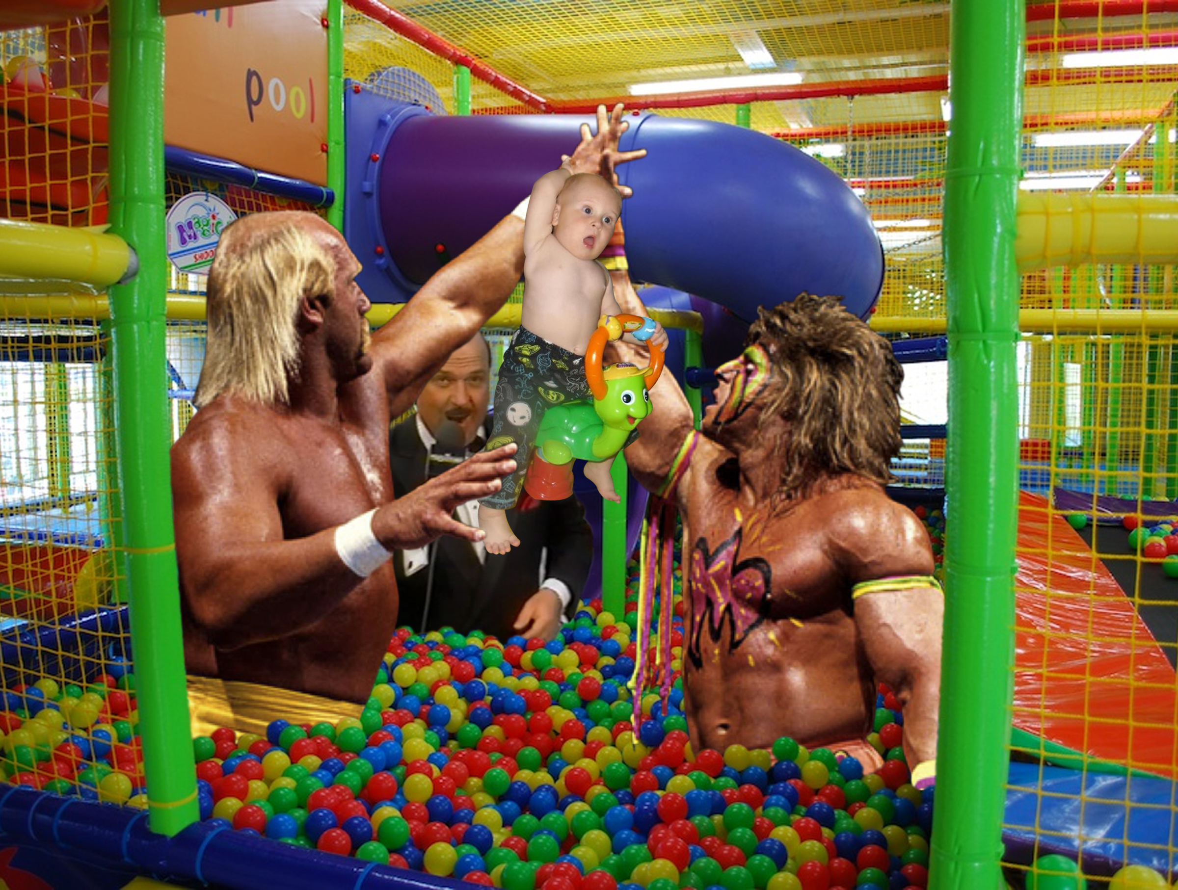 Yes, that is Hulk Hogan, The Ultimate Warrior and Mean Jean Okerlund with a baby in a ball pit...
