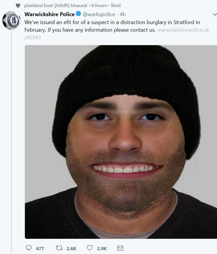 Police in Warwickshire, England released this image of a wanted burglar on the run. White male, medium height, 79 kilograms, extra teeth.