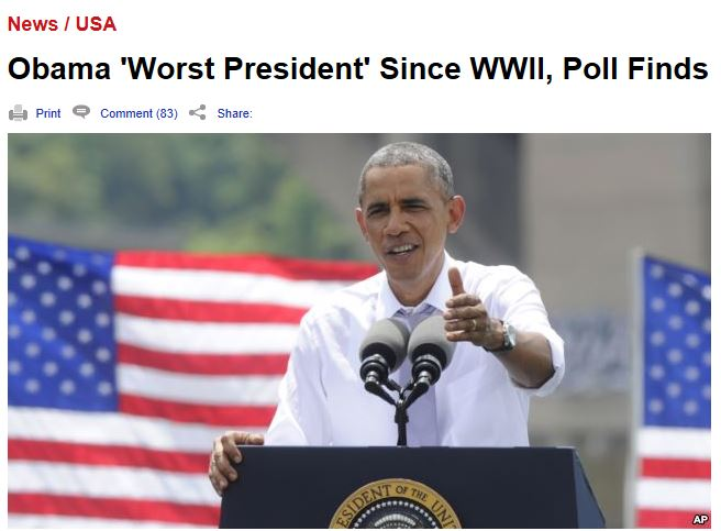 A new U.S. poll shows Americans think President Barack Obama is the country's worst president since World War II.