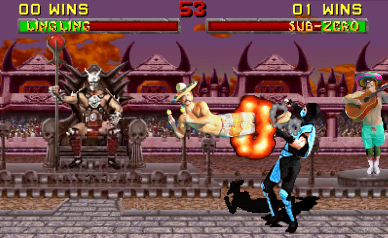 Upon discovering the death of his wife at the hands of Shao Kahn, Ling Ling named for his love of the Mariachi began his journey to defeat Shao Kahn and his disciples as revenge for the savage slaughter of his beloved. Subzero is the first of Shao Kahn's evil forces to step forward and challenge Ling Ling's advances. Will Ling Ling make it?