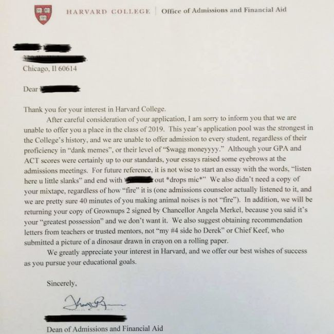 harvard rejection letter harvard sent out this rejection letter picture 1277