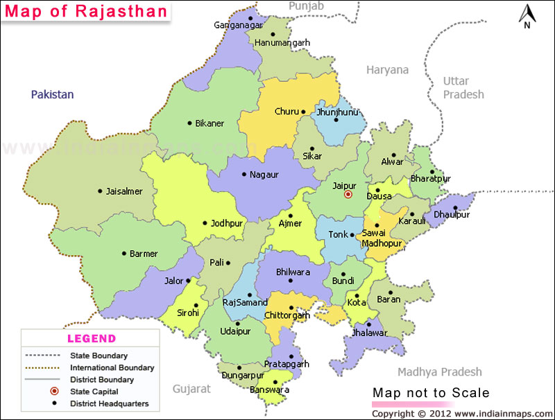 Map of Rajasthan Rajasthan District Map Indiainmaps com - Picture