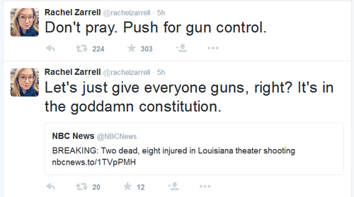 What Rachel Zarrell tweeted after the LA theater shooting. Glad eBaum's is no longer partnered with that dog-shit site.