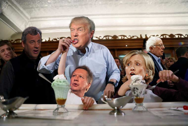 Trump with his fellow candidates