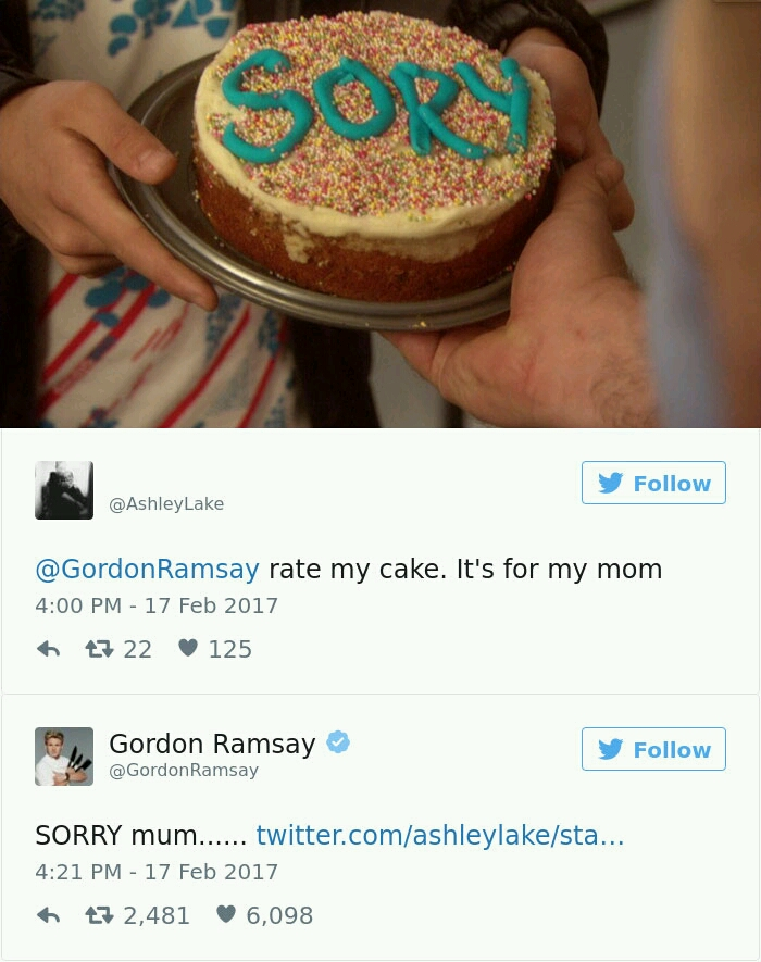 Gordon Ramsay Destroys Home Cooked Meals On Twitter