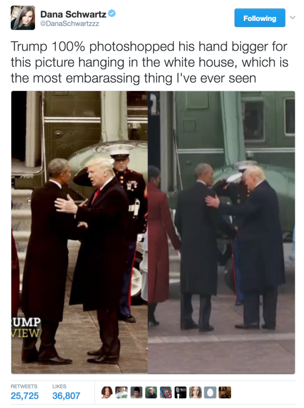 Drumpf shows 60 Minutes a picture hanging in the WH that was photoshop'd of his teeny tiny hand to make it look larger. What did you expect, the truth? Haa, everything about him is a lie.